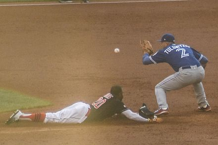 Rajai Davis steals second base in the bottom of the third inning of Game 2