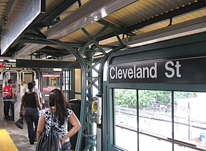 Cleveland Street (BMT Jamaica Line) - Platform and fare control