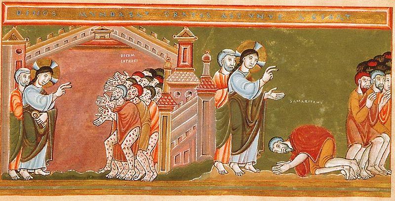 https://upload.wikimedia.org/wikipedia/commons/thumb/b/b6/CodexAureus_Cleansing_of_the_ten_lepers.jpg/800px-CodexAureus_Cleansing_of_the_ten_lepers.jpg