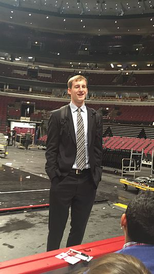 Cody Zeller - Zeller in Chicago, March 2015, talking to Indiana alumni after a Hornets game at United Center