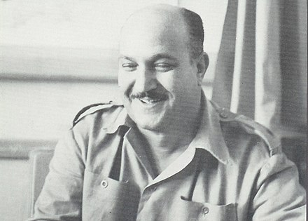 Brigadier Kamal Hassan Ali, Egyptian chief of operations, at his desk in San'a Colonel Hassan Ali Kamal.jpg