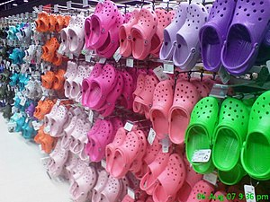 Crocs sold at a store.