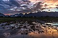 Colorful sky with pink clouds reflecting in the water of a paddy field and mountains at dusk Vang Vieng Laos.jpg
