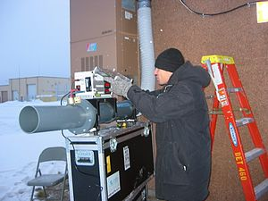 Air flow meter - Conducting air flow measurements at radionuclide station RN76,Salchalet, USA