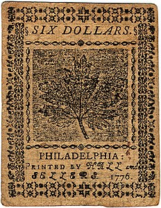 Continental Currency $6 banknote reverse (November 2, 1776).jpg