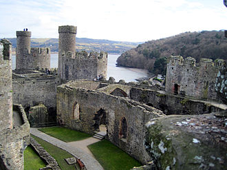Conwy Castle - The Outer Ward, with the great hall and chapel (r)