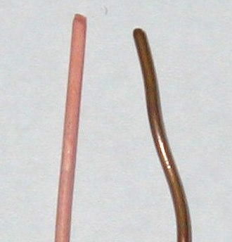 Copper - Unoxidized copper wire (left) and oxidized copper wire (right).