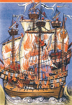 Banderole - A contemporary illustration of the Breton warship Cordelière and the English warship Regent ablaze at the Battle of St. Mathieu on August 10, 1512. Both are flying banderoles (the Breton Kroaz Du and the English flag of St. George.)