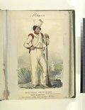 Costumes mexicains. Soldat en petit tenue. Veste et pantalons de toile. Coeffe de Schakos en Mousseline (NYPL b14896507-76634).tiff