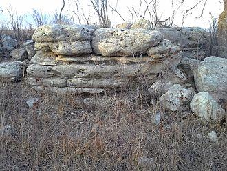 Cottonwood Limestone - Image: Cottonwood Limestone, Konza Trail Outcrop