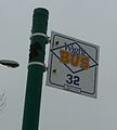 Cowes Somerton Roundabout bus stop flag.JPG