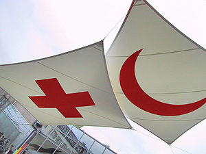 Emblems of the International Red Cross and Red Crescent Movement - The symbols of the movement. The Red Cross and the Red Crescent emblems at the International Red Cross and Red Crescent Museum in Geneva. The Red Crystal emblem has recently joined them.