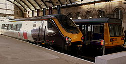 CrossCountry and Northern Rail 55791 at Central Station, Newcastle upon Tyne, 7 November 2013.jpg