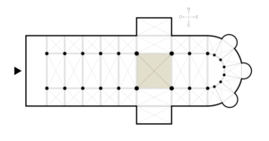 Crossing (architecture) - Cathedral floor plan (crossing is shaded)