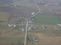 Aerial view of Pickrelltown from the east