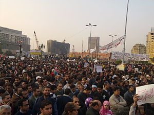 English: Big crowd amassed in Midan El Tahrir,...