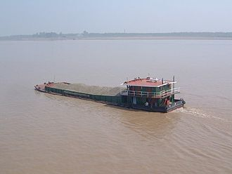 Crushed stone - A crushed stone barge in China