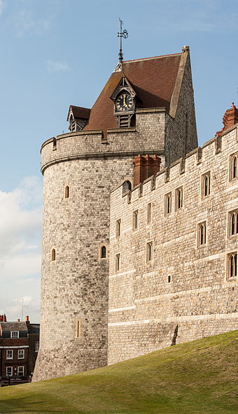 The Curfew Tower, part of the Lower Ward, built under Henry III and remodelled in the 19th century Curfew Tower, Windsor Castle.jpg