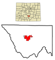 Custer County Colorado Incorporated and Unincorporated areas Silver Cliff Highlighted.svg