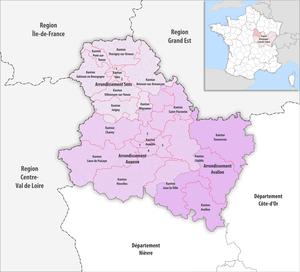 Liste der kantone im d partement yonne wikipedia for Region yonne