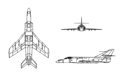 Orthographically projected diagram of the Dassault-Breguet Super Étendard.
