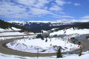 Vail Pass - Rest area on Interstate 70 on the east side of Vail Pass. The ski runs at Copper Mountain are visible in the background.