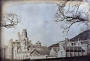 Margam Castle - A whole-plate daguerreotype of Margam Castle taken by the Rev. Calvert Richard Jones (1802–1877) on 9 March 1841, the only daguerreotype by Calvert Jones known to have survived.