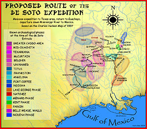 Tula people - de Soto route through the Caddo area, with known archaeological phases marked