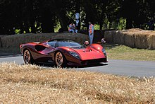 The De Tomaso P72 on the Goodwood hill climb course