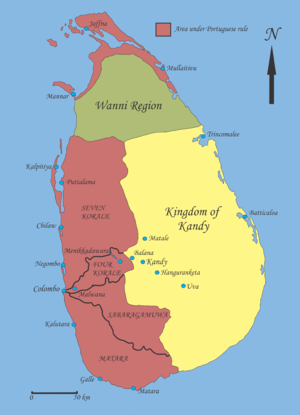 Kandyan commerce raiding against Portugal (1612–13) - De jure political map of Sri Lanka, early 17th century