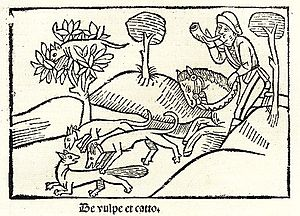 The Fox and the Cat (fable) - Heinrich Steinhöwel's 1501 illustration of the fable