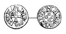 Denaro d'argento battuto a Narbona da Alfonso Giordano durante l'occupazione della città, con impresso sul Dritto l'iscrizione ANFOS DVX (duca Alfonso) e sul Rovescio NARBONE CIVI (Città di Narbona).