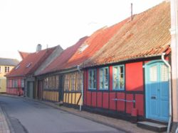 Street with old houses in Kerteminde.