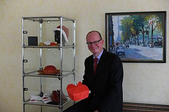 Philippi Collection - Dieter Philippi with the first piece of his collection: a cardinal's biretta made from red watered silk