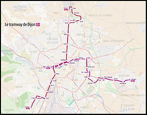 Dijon tramway - Map of the Dijon tramway