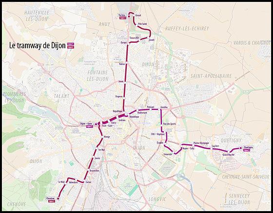 Great carte des deux lignes du rseau de tramways de dijon for Prix du m2 metz
