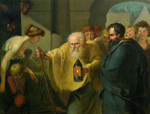 Diogenes Searching for an Honest Man, attributed to J. H. W. Tischbein (c. 1780) Diogenes looking for a man - attributed to JHW Tischbein.jpg