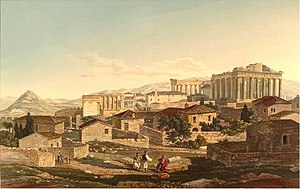 "Edward Dodwell - ""West Front of the Parthenon"", Views in Greece, London 1821"
