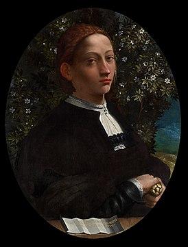 Единственный достоверный портрет Лукреции, написанный с натуры (приписывается Доссо Досси, около 1519, Национальная галерея Виктории)