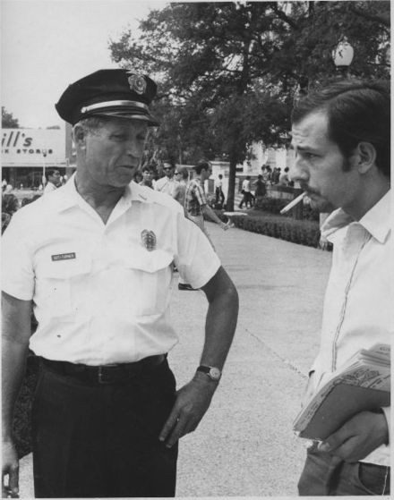 Thorne Dreyer (right) and University of Texas campus cop, October 1966. Dreyer and Kampus Kop, The Rag.jpg