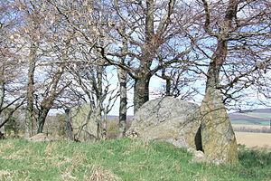 Stone circle - Dunnideer recumbent stone circle near Insch, Aberdeenshire, Scotland