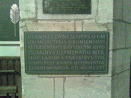 Plaque commemorating Duns Scotus in the University Church, Oxford Duns Scotus plaque University Church Oxford.jpg