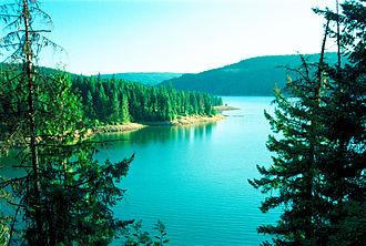 Dworshak Dam - Dworshak Reservoir, seen nearly full in June 2003