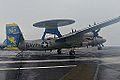 E-2C of VAW-112 landing aboard USS John C. Stennis (CVN-74) in December 2014.JPG