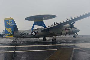 VAW-112 - Image: E 2C of VAW 112 landing aboard USS John C. Stennis (CVN 74) in December 2014
