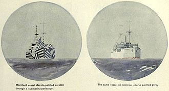 Dazzle camouflage - Claimed effectiveness: Artist's conception of a U-boat commander's periscope view of a merchant ship in dazzle camouflage (left) and the same ship uncamouflaged (right), Encyclopædia Britannica, 1922. The conspicuous markings obscure the ship's heading.