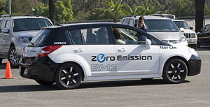 Nissan Leaf - The EV-12 test car was based on the Nissan Tiida/Versa.
