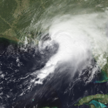 Satellite image of Hurricane Earl, a somewhat disorganized tropical cyclone in the northeastern Gulf of Mexico