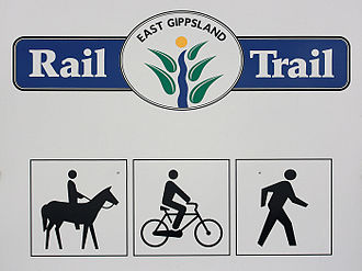 Rail trail - East Gippsland Rail Trail signage in Victoria, Australia indicating the shared trail usage