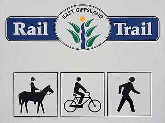 Rail trail - East Gippsland Rail Trail signage in Victoria, Australia indicating the shared trail usage